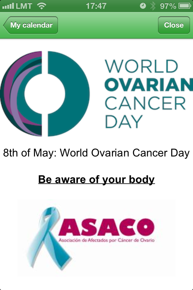 WomanLog ASACO 8 may world ovarian cancer day