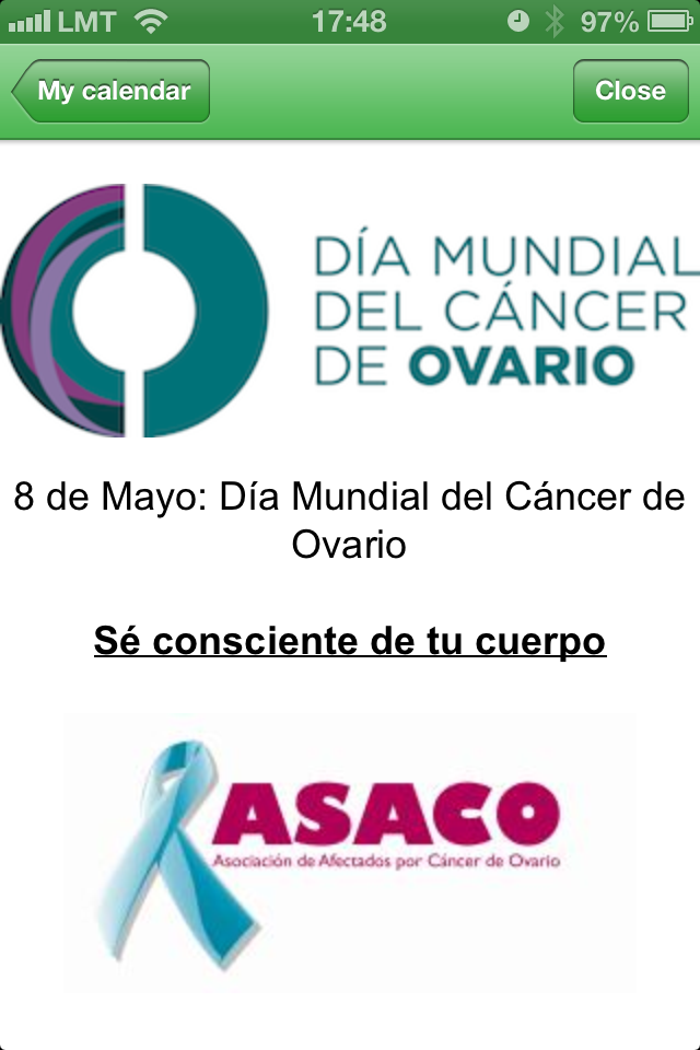 WomanLog ASACO 8 mayo Dia Mundial Cancer Ovario