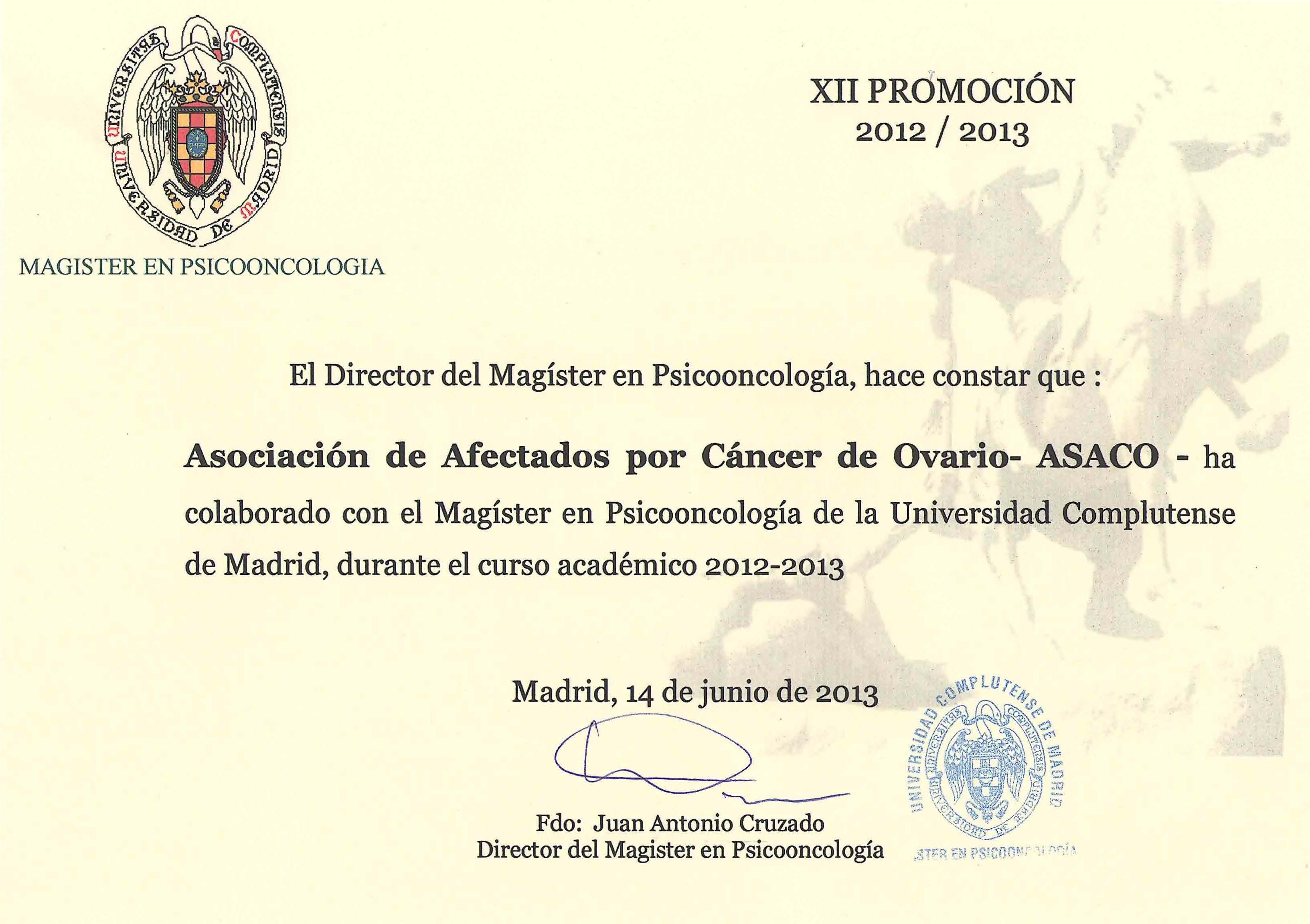 Convenio ASACO UCM 2013