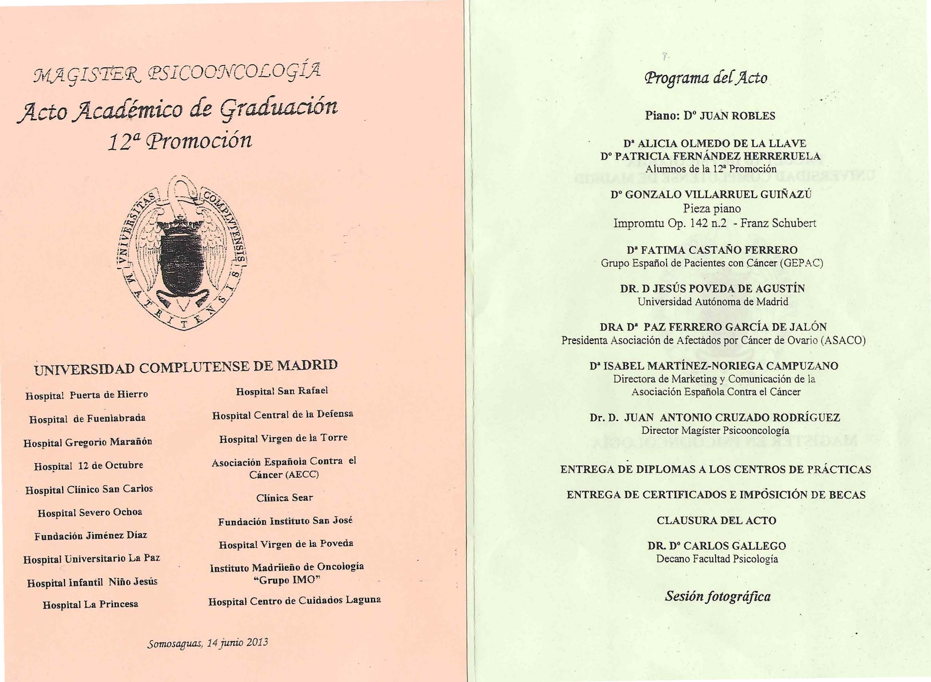 Convenio ASACO UCM Programa Graducacion 2013