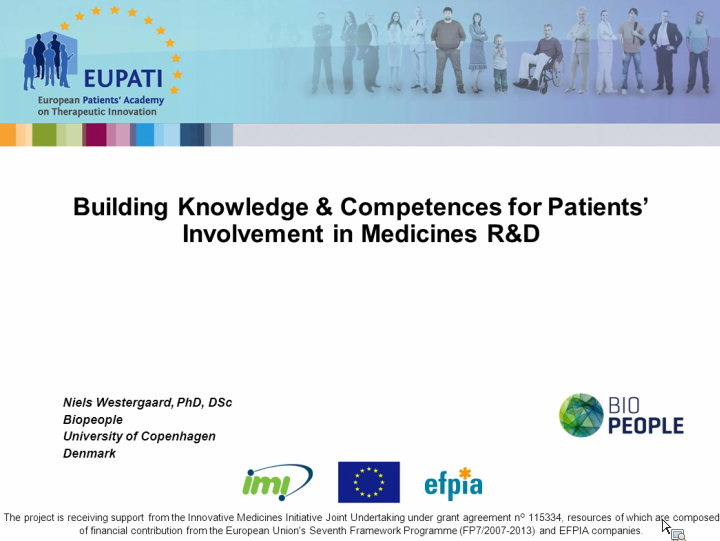 EUPATI Building knowledge competences patients involvement ASACO webinar 2013