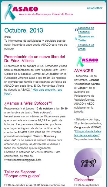Newsletter ASACO 3 octubre 2013