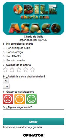 Encuesta Charla Odile ASACO Cancer Ovario febreo 2014