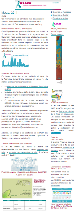 Newsletter marzo 2014 asaco cancer ovario