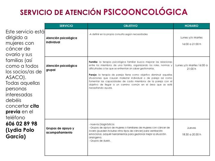 servicio atencion psicooncologica ludia poloasaco cancer ovario