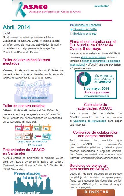 Newsletter abril ASACO cancer de ovario 2014
