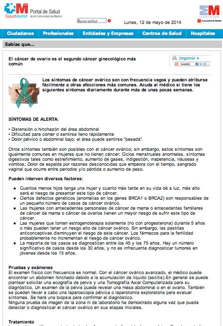 Difusion DMCO SERMAS cancer ovario ASACO 2014 2
