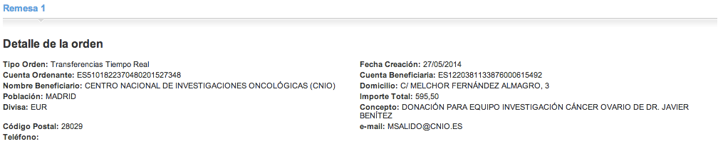 Donacion OFFERUM ASACO a CNIO cancer ovario 2014