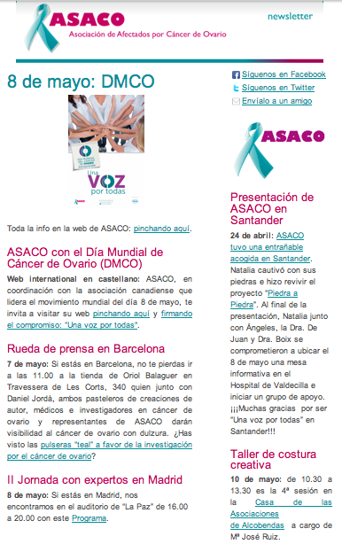Newsletter ASACO cancer ovario mayo 2014