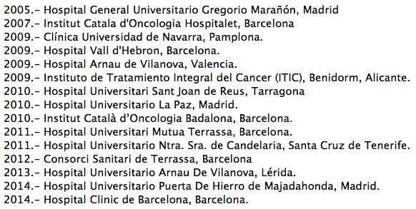 Hospitales Excelencia Oncologia ESMO 2014 ASACO cancer ovario