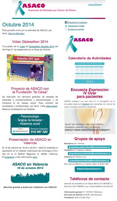 Newsletter octubre 2014 asaco cancer ovario