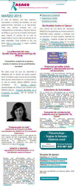 Newsletter marzo 2015 asaco cancer ovario