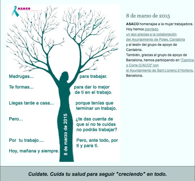 8 marzo 2015 homenaje a mujer asaco cancer ovario