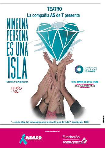 Cartel Ninguna persona es una isla AS de T Wit cancer ovario ASACO DMCO 2015 mini