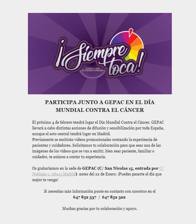 Día mundial frente cáncer Gepac 2018